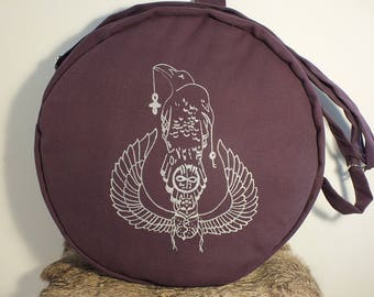 Shoulder bag shamanic drum painted by hand