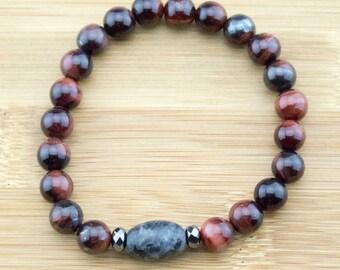Red Tigers Eye Yoga Jewelry Bracelet with Black Labradorite | 8mm | Wrist Mala | Meditation Bracelet | Buddhist Bracelet | Free Shipping