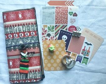 Halloween Fauxdori, Midori, Travelers Notebook, fabricdori notebook cover