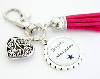 Super MOM bag charm key chain - hot pink