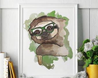 Sloth - Watercolor Painting - Sloth Art - Sloth Painting - Sloth Print - Animal Watercolor Print