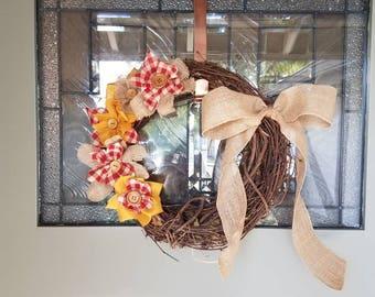 Fall Wreath,  Autumn Wreath, Flower Wreath, Halloween Decor,  Fall Decor,  Door wreath, Halloween Wreath,  Thanksgiving Wreath