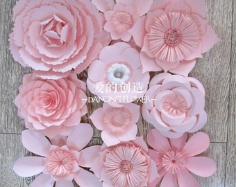 Custom cheap pink color 2.5 M 3.0M paper flower backdrop wall