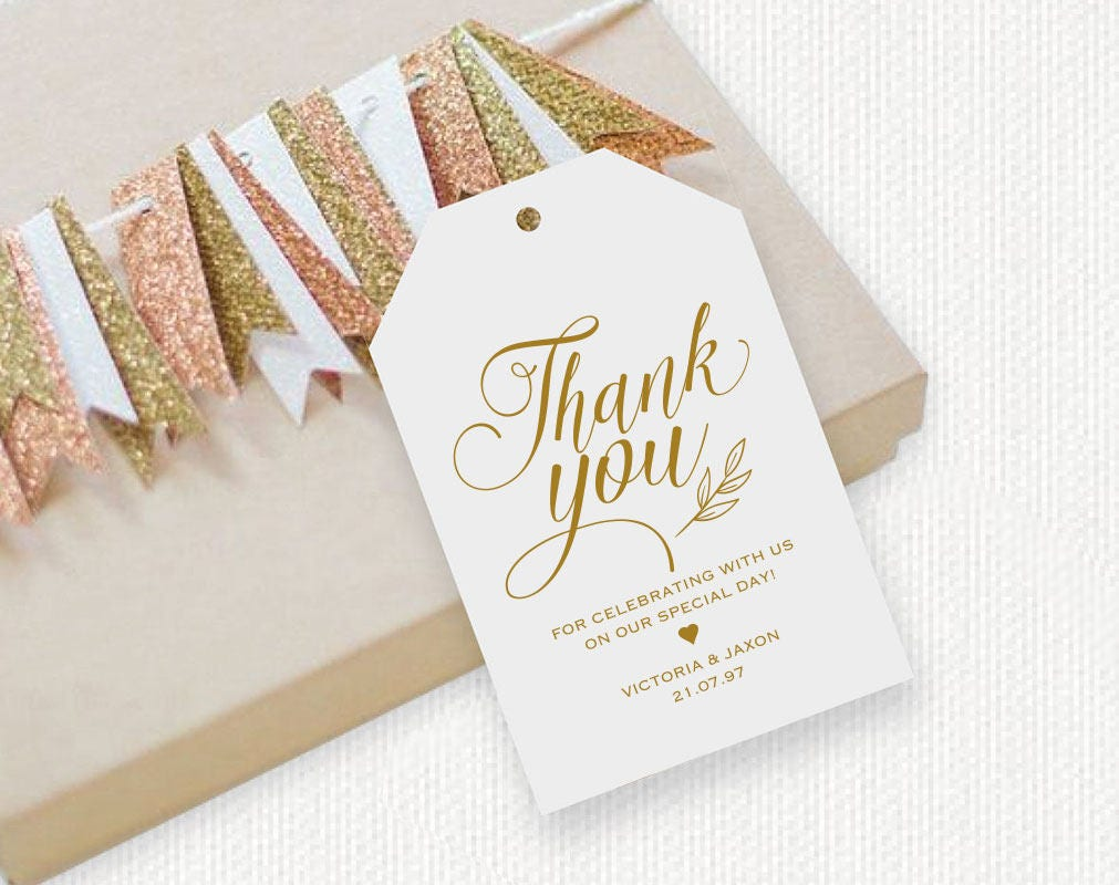 Gold, Thank You Tag, Gift Tags, Wedding Thank You Tags, Wedding ...