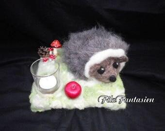Lantern with Hedgehog made of felt, felted lantern, tea light holders, autumn decoration, table decoration, felt figure