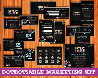 SALE! Chalkboard DotDotSmile Marketing Kit, 15 Items! Smile Business Cards; DDS kit; Dotdotsmile: Dot Smile marketing; Dot Dot Smile Bundle!