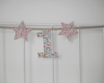 Birthday Garland, number, 1 star and cloth