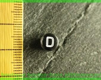d plastic Pearl round black and white alphabet