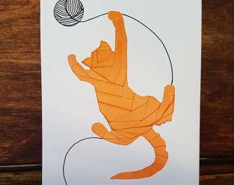 Handmade Iris Folded Card Featuring Ginger Cat Chasing Ball Of Wool..