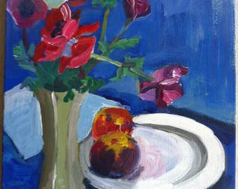 Anemones and Apple on a blue background