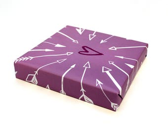 Valentine's Day Wrapping Paper - Heart with Arrows on Purple, Valentine Gift Wrap, Love Heart Wrapping Paper Sheet