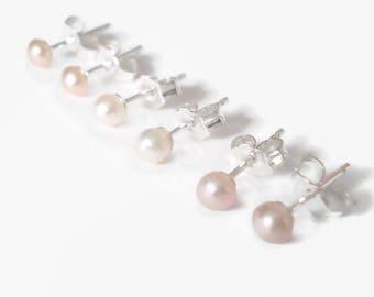 Princess Perfect - 3mm Freshwater Pearl 925 Sterling Silver Stud Earrings