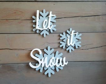 Let it Snow sign, Snowflake Sign, Snow Sign, Wood Sign, Christmas Signs, Winter Signs, Snowflake Decor, Winter Decor, Wood Winter Sign