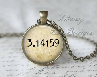 Pi, 3.14159 Typewriter Font Necklace or Keyring, Keychain.