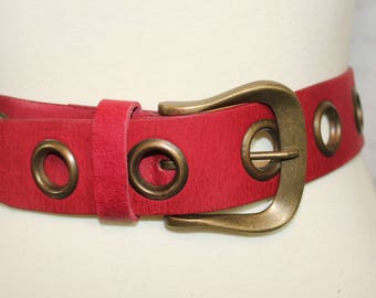 Thick Red Vintage Belt| red belt with grommets | wide red belt | rock and roll belt | 80s belt | medium red belt | belt bin 1