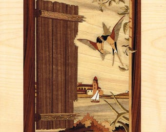 "Spring in Collioure marquetry inlay ""return of spring"""