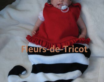 Knitted baby sailor sleeping bag