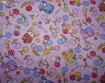 Fabric C294 Cubs and cherries on pink coupon 50x50cm