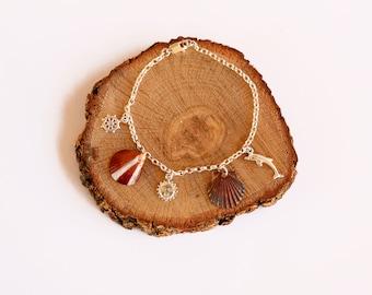 Sea Shell Bracelet, Charm Bracelet, Silver Bracelet, Mermaid Bracelet, Boho bracelet