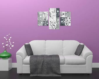 Painting triptych design, floral abstract, digital design