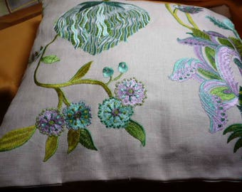 light linen embroidered with shiny threads patterns cushion