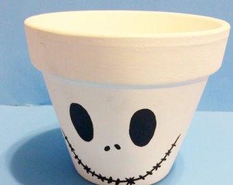 Nightmare Before Christmas Jack Skellington Inspired Terra Cotta Pot