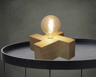 CARA - Handmade wooden table lamp, Table lamp, Desk lamp, Wood lamp, Wood, Edison Bulb