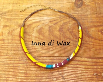 Maasai style necklace made of wax (African fabric) 22004