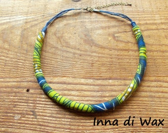 Maasai style necklace made of wax (African fabric) 22001