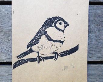 Block print of Finch, hand pulled original art, linocut, nature woodland wildlife art, bird art, wall art,
