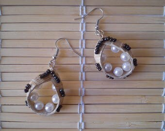 """Earrings """"beige leather classic with pearls"""""""