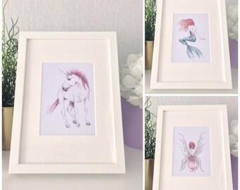 Set of 3 prints/ magical gallery wall set/ unicorn art/ mermaid print/ fairy print/ watercolour/ watercolor/ nursery prints/ unicorn decor
