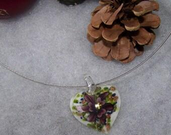 heart style murano white & purple flower