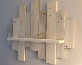 Large White reclaimed wood shelf