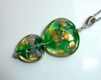 "Pendant ""Green Gold""  Necklace, Lampwork Necklace."