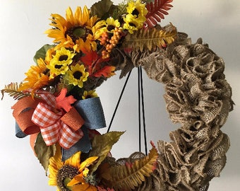 Burlap Sunflower wreath, farmhouse rustic feel, gingham ribbon bow, Fall leaves