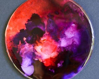 Blood moon magnet- handmade refrigerator magnet featuring original alcohol ink fluid artwork on mirror surface