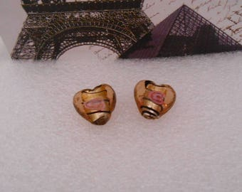Set of 4 glass beads shaped heart 16 mm x 10 mm