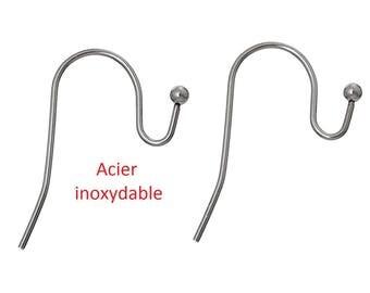 2 hooks for pierced ears stainless steel