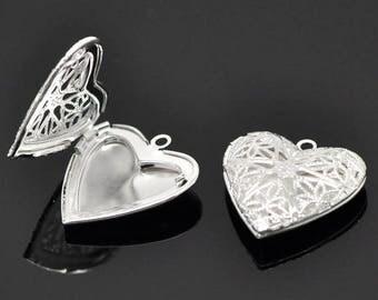 Door Photo 26x26mm silver heart pendant