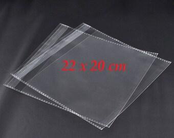 50 self-adhesive clear plastic bags