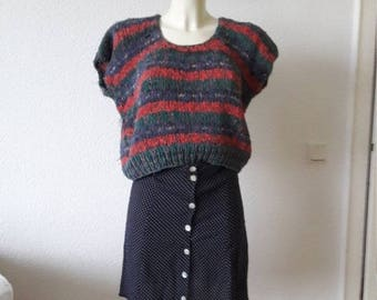 90s chubby fuzzy striped knit sweater top