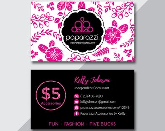 Paparazzi Business Card, Custom Paparazzi Accessories Business Card, Back Office Logo, Fast Free Personalization, Modern Business Card PZ06
