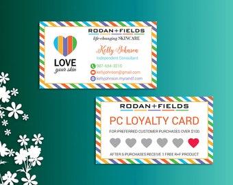 Rodan and Fields PC Loyalty Card, Fast Personalized, Rodan and Fields Business Cards, Modern Business Cards RF02