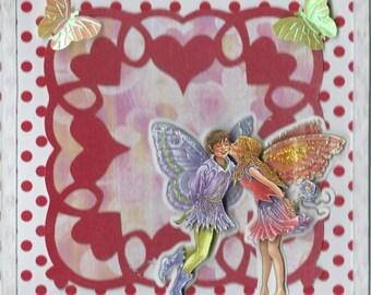 card 3D couple Elf on heart cut
