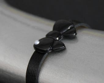 Black faux leather with knot bracelet