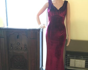 1930 Style Wine Velvet Floor Length Dress