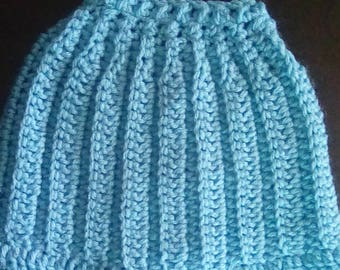 Hand crocheted messy bun beanie