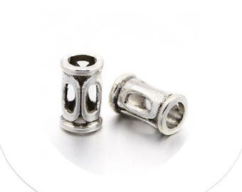 Set of 10 beads, alloy tube, 10 mm, 6 mm diameter, hole 4 mm