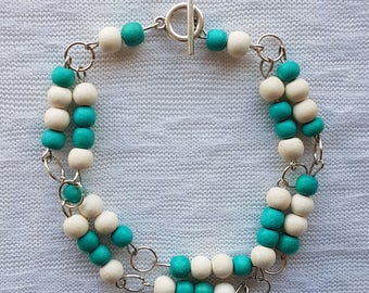 Bracelet wooden beads Vintage Look
